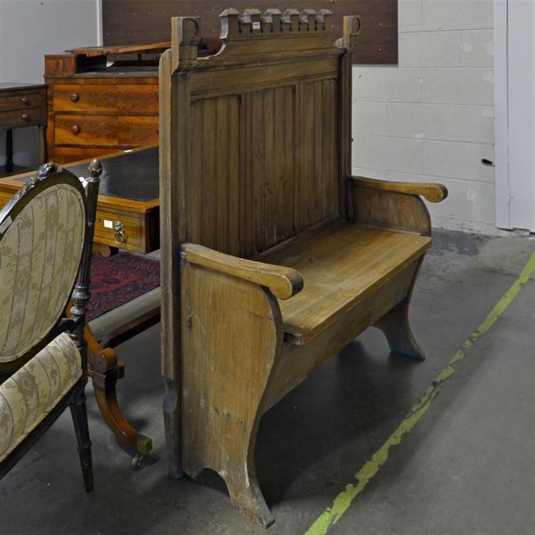 Correction Hall Bench Vintage Oak Tudor Style With Tall B