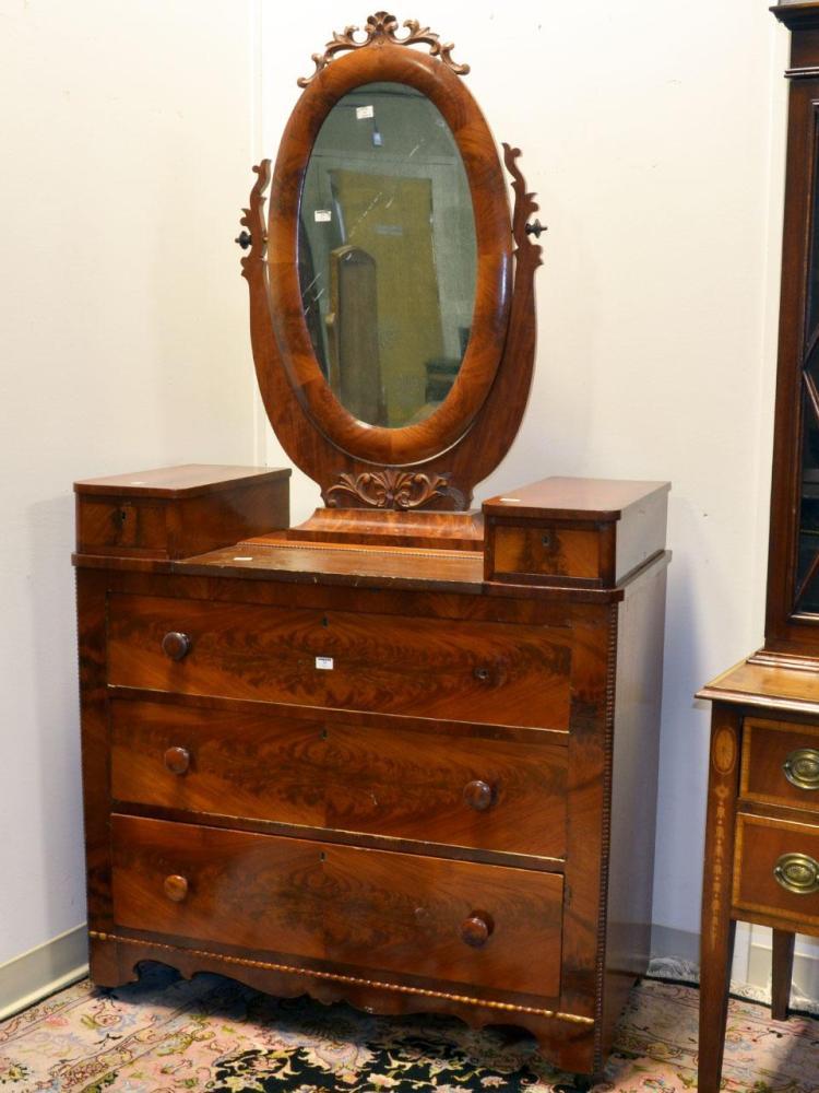 American Dresser Antique Mahogany Veneers Over Pine Second