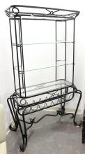 BAKER'S RACK ETEGERE - French style blackened tubular metal with four tiered beveled glass upper storage/display atop filigree style..