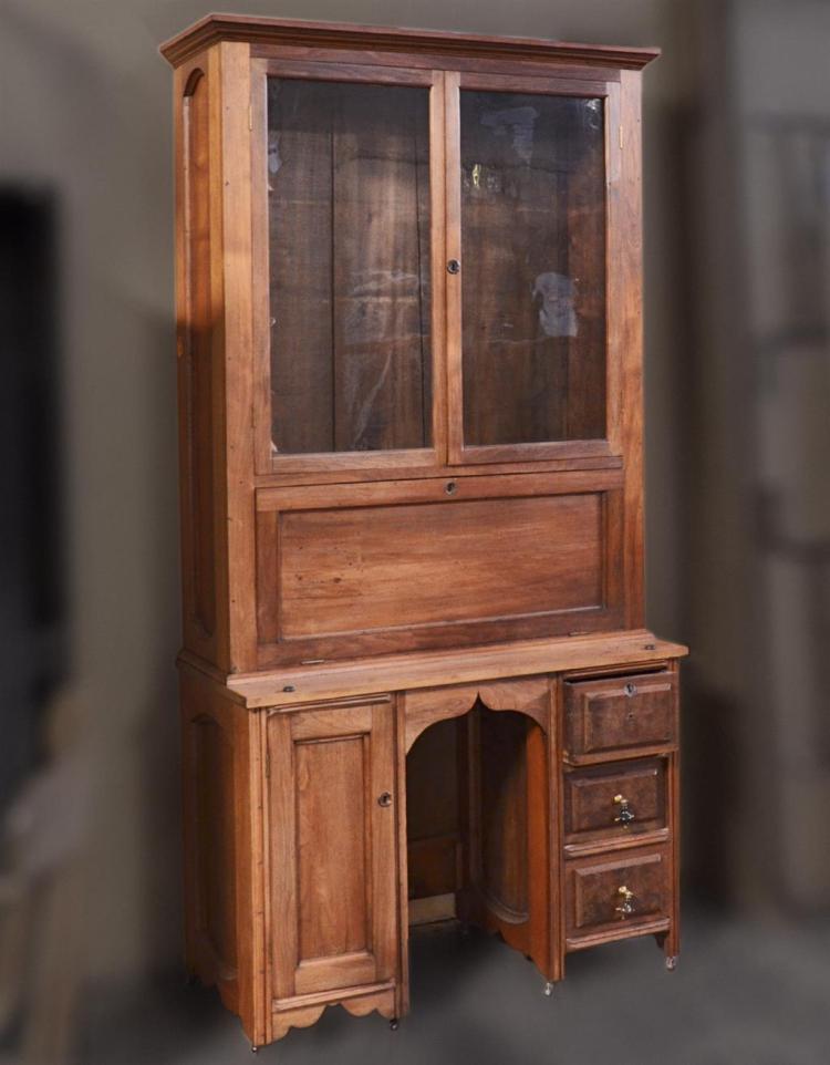 Bookcase Desk Antique American Walnut With Tall Bookcase B