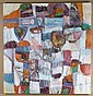 ALLEN WOLF (1925- , Washington) OIL ON CANVAS - Unsigned, from the Wolf estate; geometric multicolored abstract in oranges, blues an..., Allen Wolf, Click for value