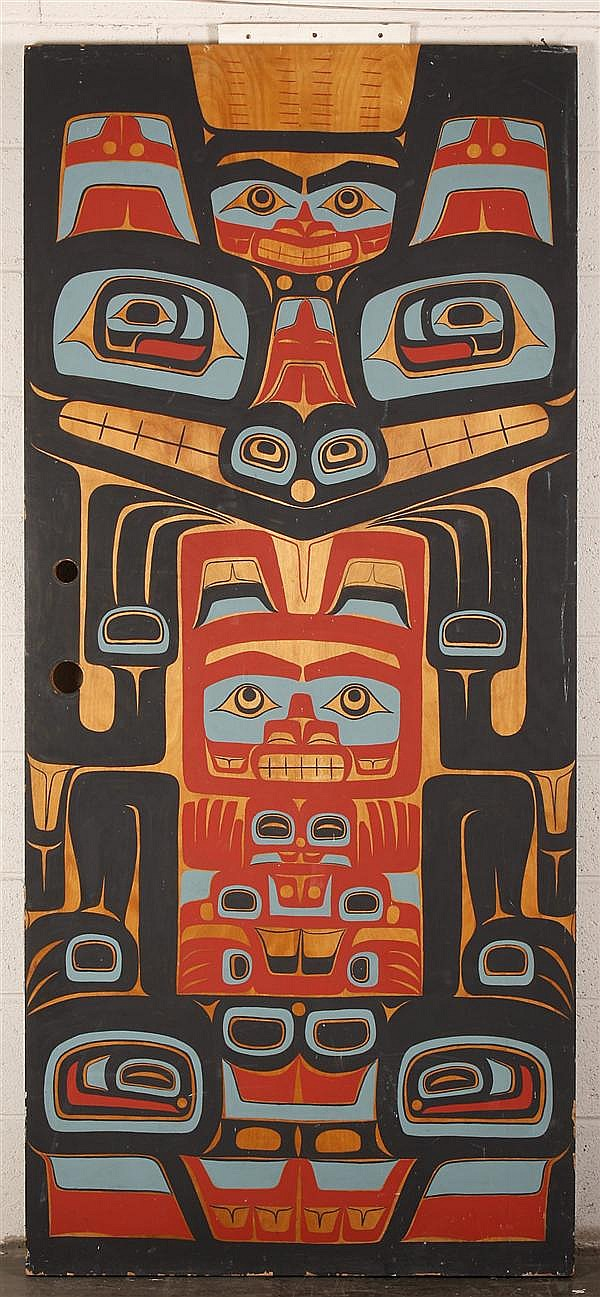 PAINTED CEDAR FORMLINE DOOR - By Don Lelooska (1933-1996, Washington) - Second of two available; originally from the Lelooska Cultur...