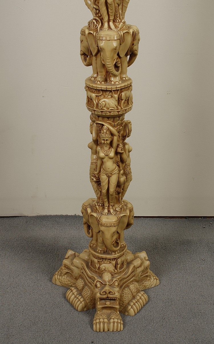 Faux Ivory Asian Style Plant Stand And Vase Carved Resin P