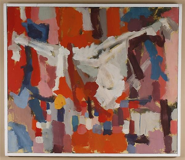 ALLEN WOLF (1925- , Washington/New York) OIL ON CANVAS - Signed multicolored abstract in reds, purples and grays - Condition good -....