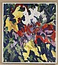 ALLEN WOLF (1925- , Washington/New York) OIL ON CANVAS - Signed abstract painting of flowers in reds, yellows and purples - Conditio..., Allen Wolf, Click for value