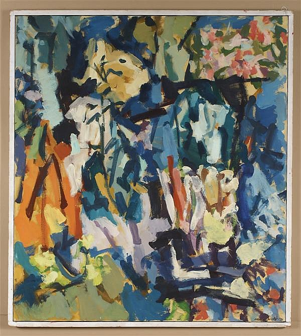 ALLEN WOLF (1925- , Washington/New York) OIL ON CANVAS - Signed abstract painting in blues and orange - Condition good - Dated 1956....