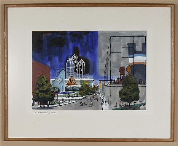 JAMES PECK (1907-2002, USA) WATERCOLOR ON PAPER - Signed Seattle fairgrounds scene titled