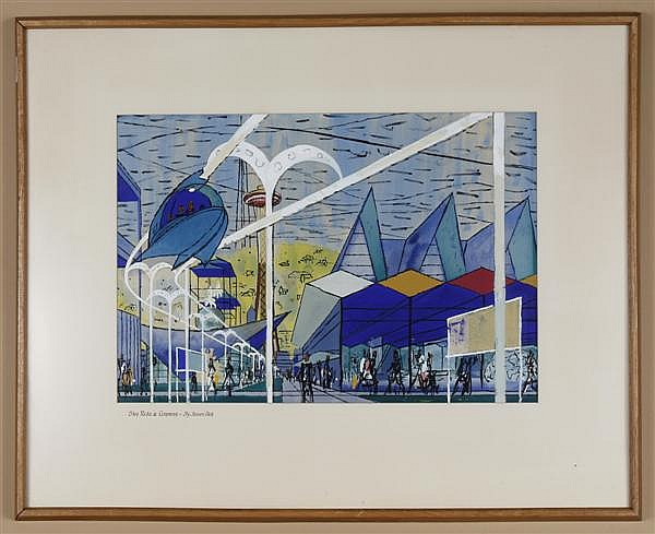 JAMES PECK (1907-2002, USA) WATERCOLOR ON PAPER - Signed Seattle Center scene with buildings and the Space Needle titled