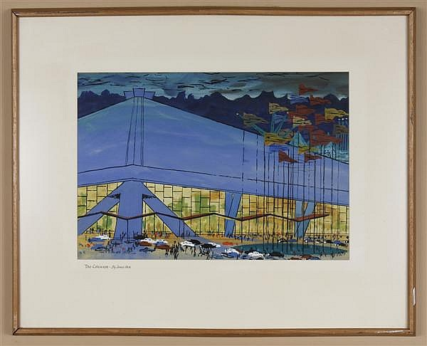 JAMES PECK (1907-2002, USA) WATERCOLOR ON PAPER - Signed Seattle Center scene titled