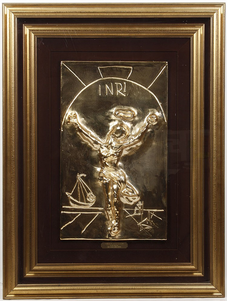 8966b949d1b SALVADOR DALI GILT BRONZE BAS RELIEF PLAQUE CHRIST OF ST JOHN ON THE CROSS  - By