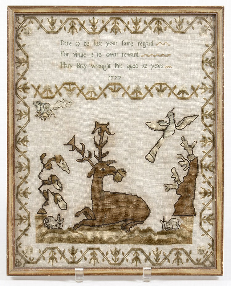 ANTIQUE NEEDLEWORK SAMPLER - Showing a reclining deer eating a leaf, two rabbits and a dove below the inscription that Mary Bray, ag...