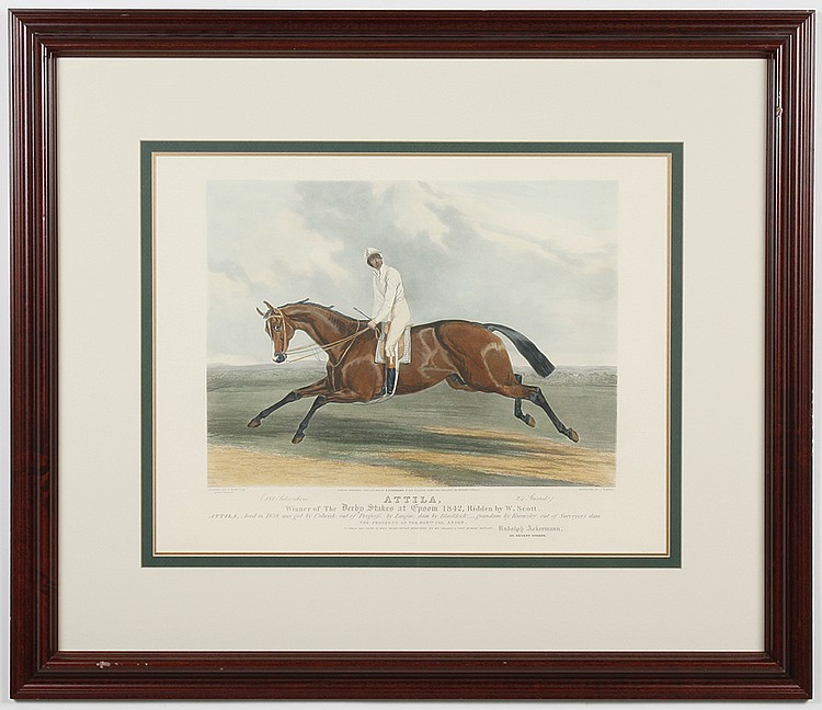 HAND-COLORED AQUATINT ON PAPER - Engraved by J. Harris. Engraving of a horse and jockey, titled