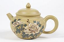 CHINESE YIXING CLAY TEAPOT - Small ochre teapot with painted flowers and a butterfly on the side