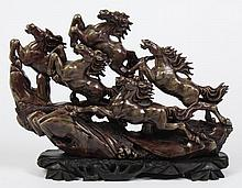 CHINESE HARDSTONE CARVING OF FIVE RUNNING HORSES - In the likeness of the famous Eight Lucky Horses