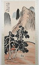 CHINESE SCROLL: WATERCOLOR PAINTING ON PAPER - Signed with artist seal. Chinese scroll painted with landscape of mountains, meadows,...