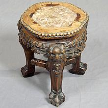 19TH CENTURY ANTIQUE URN STAND - Chinese rosewood stand with inset marble top, beaded edge molding, pierced skirting with floral and...