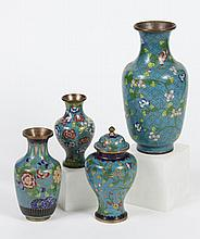 FOUR CHINESE CLOISONNE VASES - Includes one urn shaped vase with cover and three baluster shaped vases; all with teal ground and flo...