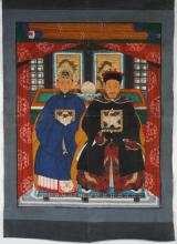 CHINESE ANCESTOR PAINTING: GOUACHE ON FABRIC - Unsigned ancestor portrait of a seated man and woman, both wearing robes with crane m...