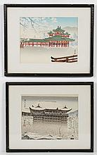TOMIKICHIRO TOKURIKI (1902-2000, Japan) TWO WOODBLOCK PRINTS ON PAPER - The two woodblocks picture Kiyomizu Temple in the snow, and...