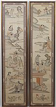 WALL HANGINGS: PAIR OF CHINESE EMBROIDERIES - The embroidery on each wall hanging depicts several figures near water and land. Note ...