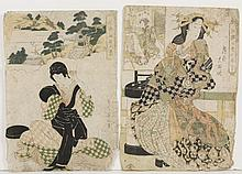 TWO JAPANESE WOODBLOCKS ON PAPER - One print is by KIKUKAWA EIZAN (1787-1867, Japan) and pictures a woman seated outside, with a com...
