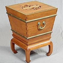 COOLER CHEST ON STAND - Chinese teak with lift-out top, brass banding and hardware, inverted pyramidal form on square base with bent...
