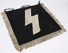 NAZI HITLER YOUTH TRUMPET BANNER - One sided with a beige sig rune stitched on a black field; fringed and with ties. Condition good;...