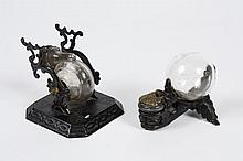 IRON AND GLASS SNAIL INKWELL & AN OAK LEAF IRON AND GLASS INKWELL - American double well or Snail inks (the glass well can be rotate...