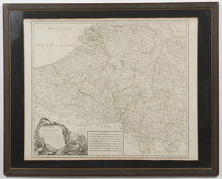 ROBERT de VAUGONDY GILLES MAP - Hand-colored engraving on paper.