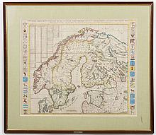 CHATELAIN HENRI ABRAHAM MAP - Hand-colored lithograph on paper, titled