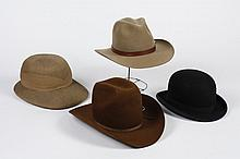 COLLECTION OF HATS - 4 Mid and Early 20th century hats to include: Stetson 4X Beaver, Mallory Stetson (perhaps later design 1960 or...