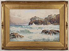 ARTHUR SUKER (1857-1902, UK) - THE LIZARD COAST, CORNWALL - Watercolor seascape view of waves crashing against cliffs, housed in orn...