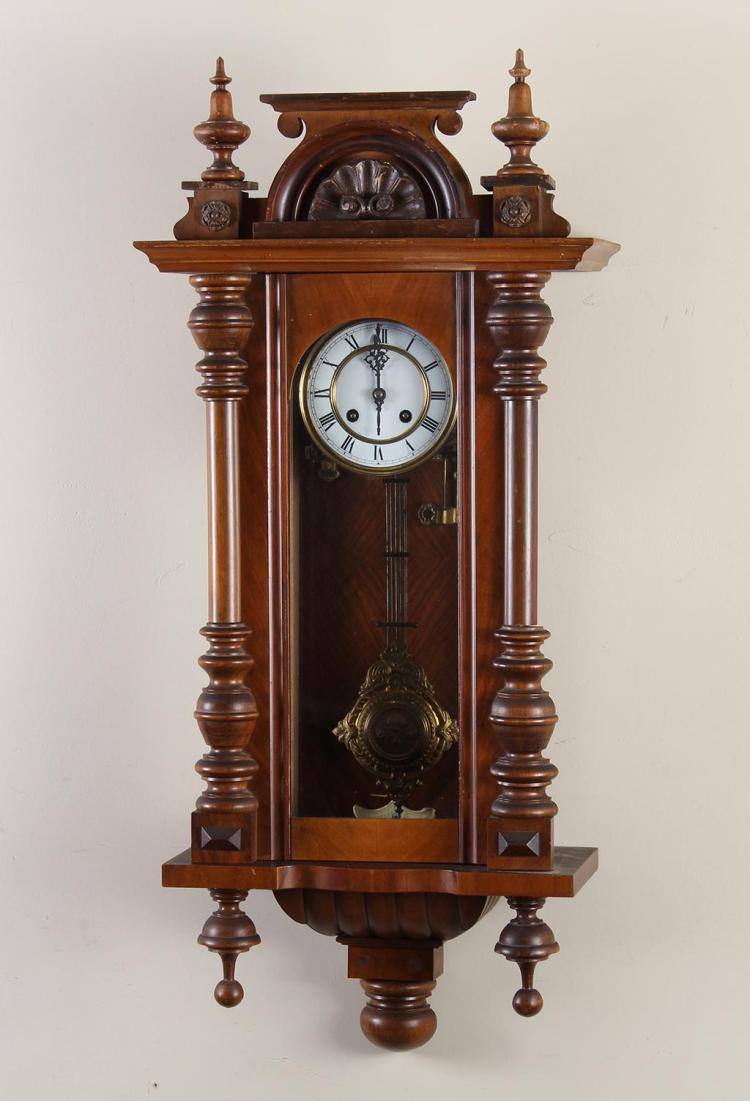 German Walnut Veneer Wall Clock With Half Columns Glass F