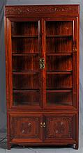 VITRINE DISPLAY CABINET - Chinese bubinga cabinet with lighted interior, glass shelf inserts, brass hardware and lower double-door c...