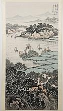 CHINESE SCROLL: WATERCOLOR ON PAPER - Stamped with artist seal. Depicting a harbor scene with boats and with mountains in the distan...