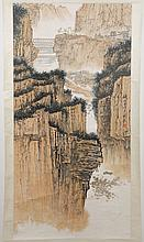 CHINESE SCROLL: WATERCOLOR PAINTING - Marked with artist seal, this scroll pictures mountain cliffs with bridges seen in distance. C...