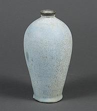 CHINESE JUN WARE STYLE VASE - Meiping Jun Ware style vase. Stoneware, blue green speckled glaze applied heavily and applied to botto...
