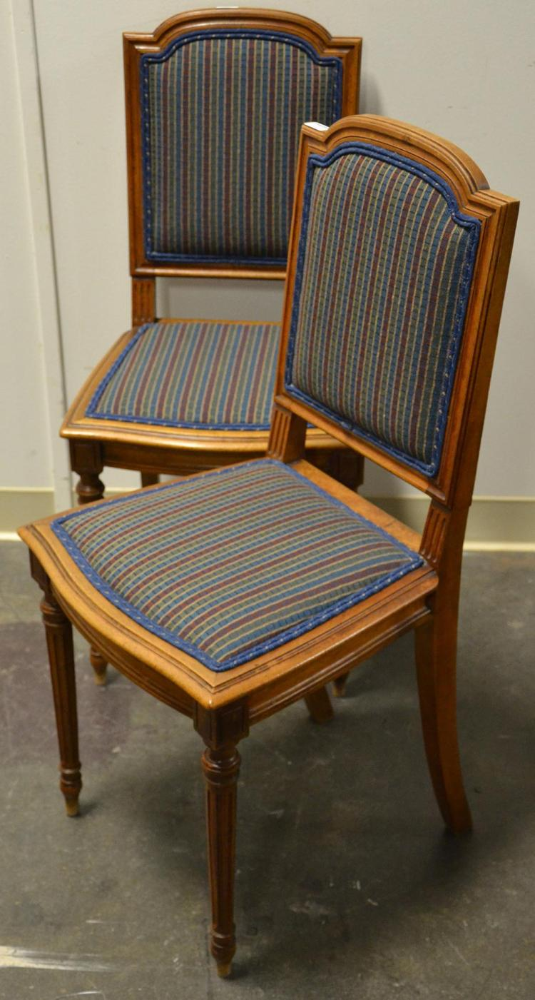 Pair Side Chairs Louis Xvi Style Walnut With Straight Back