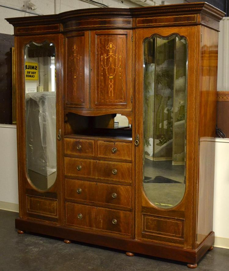 Central Coast Kitchens And Wardrobes Home: Antique English Mahogany Gentleman's Wardrobe With