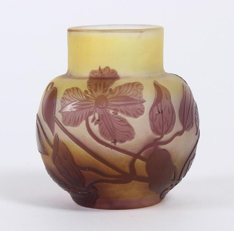 Small Galle Cameo Glass Vase Galle 1864 1936 France Bul