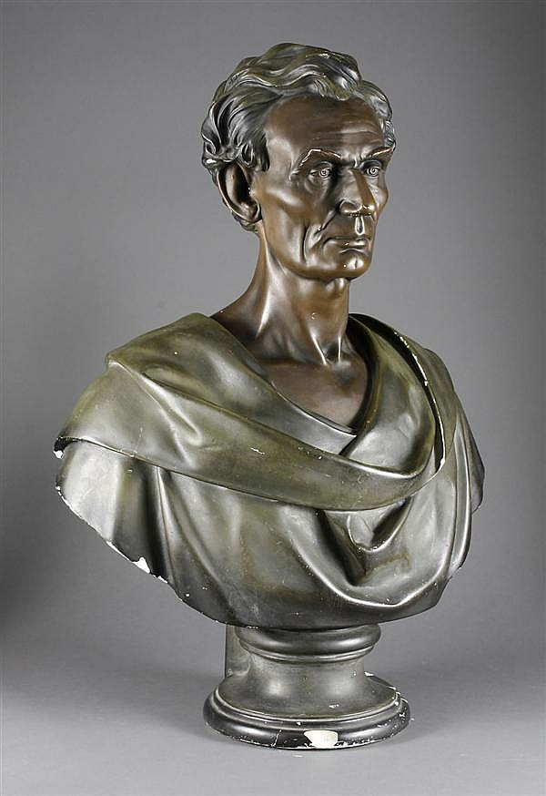 PLASTER BUST OF ABRAHAM LINCOLN - By Leonard W. Volk (1828-1895, USA); signed in the cast