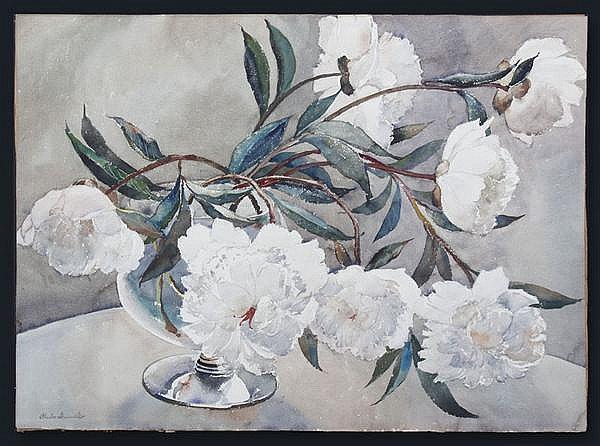 PAUL IMMEL (1896-1964, Washington) WATERCOLOR ON PAPER - Signed still life with white peonies in a vase; a rough sketch of flowers a...