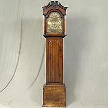 ANTIQUE TALL ENGLISH CASE CLOCK - Oak case, two-weight time and strike movement, decorative brass dial with Roman numeral hours, Ara...