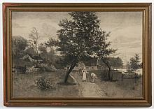 J. OLI_ _ _ DUSON SIGNED ETCHING ON PAPER - Signature in pencil at lower right is only partially legible. The etching depicts a coun...