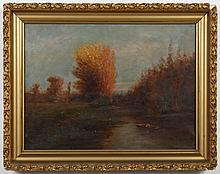 J.JONES SIGNED OIL PAINTING ON CANVAS - Signed on lower right, this is a fall landscape showing a river and a figure in a small boat...
