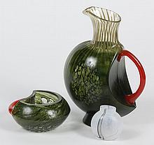 THREE KOSTA BODA GLASS ITEMS - Includes a Corfu style pitcher (11.5