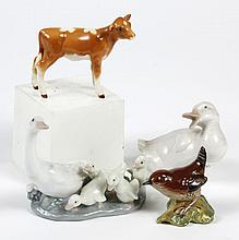 ASSORTMENT OF LLADRO AND BESWICK PORCELAIN FIGURINES - Includes a duck, a goose with goslings, a calf and a wren. Marked Lladro or B...