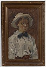 WILLIAM FORSYTHE OIL PAINTING ON PAPERBOARD - Signed portrait of a young woman with a white dress and hat, artist per consignor