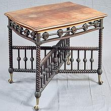 ANTIQUE MAHOGANY PARLOR TABLE - Aesthetic Period mahogany table with solid top, openwork skirting with bobbin style corner supports,...