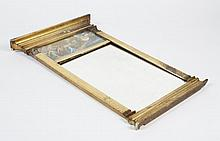 SMALL PIER-STYLE MIRROR - With half column side molding and neoclassical transfer scene of a horse drawn chariot driven by Helios or...